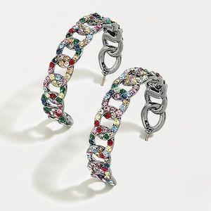 JCREW Pave' Chain Hoop Earrings NWT OS Multi